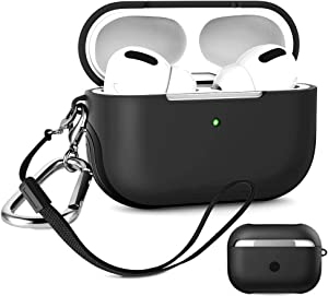 Air pod pro Case for Apple,AirPods Pro Case Cover, Shock-Absorbing Cover Anti-Fall with Keychain and Hand Strap, 2-Layer Cover 2-in-1 Inner-Soft,Outer-Hard Shell [2020 Upgraded]