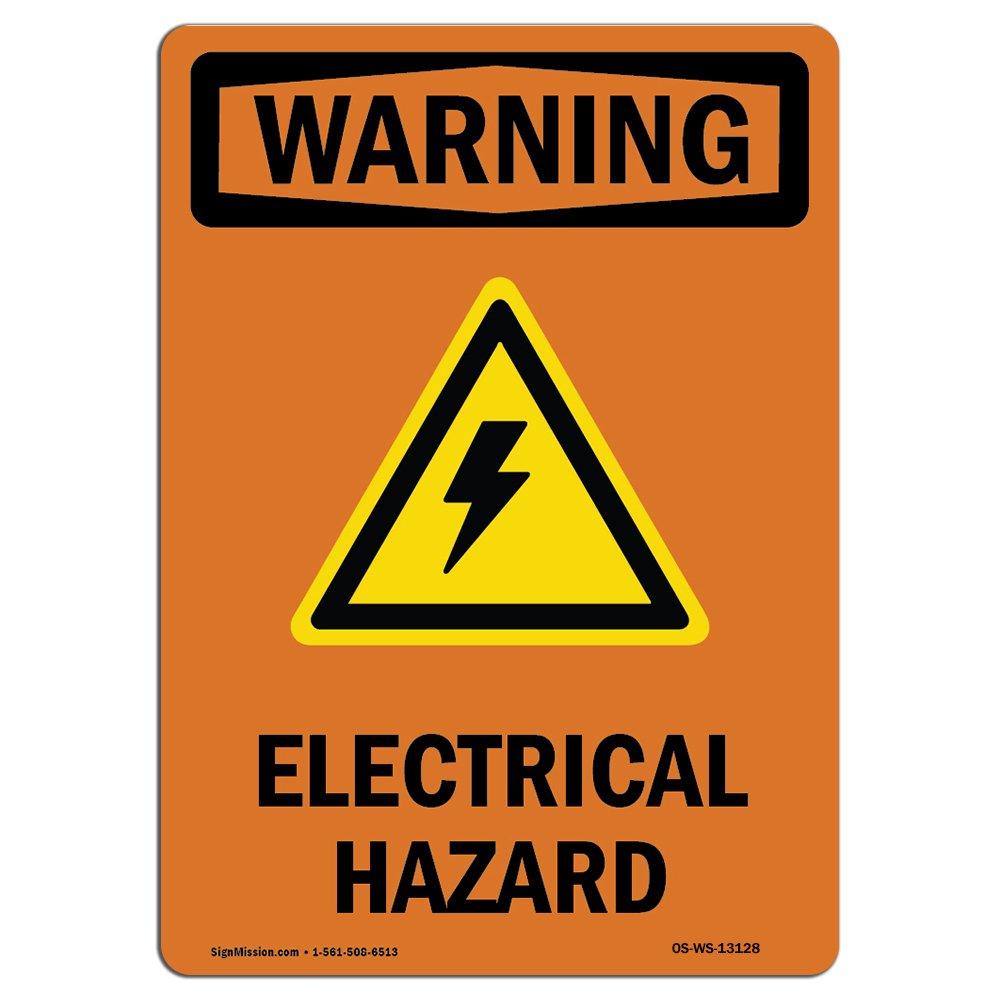 Señal de advertencia de Osha - peligro eléctrico con símbolo ...