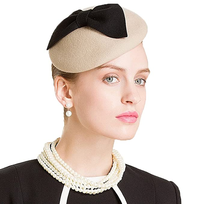 f080d92f Lawliet Womens Camel Wool Felt Fascinator Bow Beret Cocktail Pillbox Hat  A317 at Amazon Women's Clothing store:
