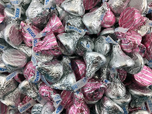 Hershey's Kisses, Milk Chocolate Hugged by White Creme & Kisses Milk Chocolate, Pink and Silver (Pack of 2 Pound) -