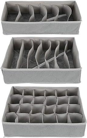 IS Juego de 3 organizadores de cajones para ropa interior, organizador de cajones plegable, divisor de clóset, caja de almacenamiento para sujetadores, ropa interior, calcetines, corbatas y bufandas: Amazon.es: Hogar