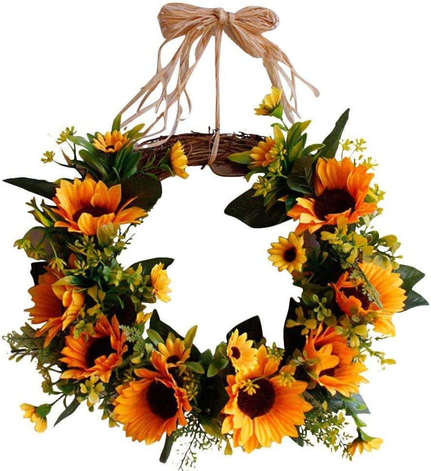 Realistic And Elegant Autumn Garland For Halloween Harvest Day Thanksgiving Day Wall Door And Window Decoration 30cm Artificial Sunflower Garland