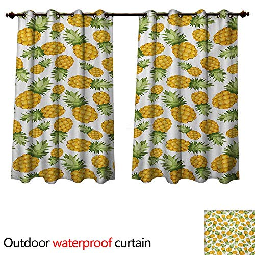 WilliamsDecor Yellow and White Outdoor Curtains for Patio Sheer Pineapples Tropical Climate Fruits Sweet Ripe Juicy Food W84 x L72(214cm x 183cm)