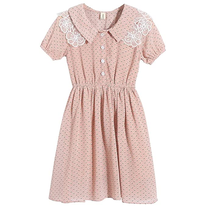 Vintage Style Children's Clothing: Girls, Boys, Baby, Toddler 4-5T Lieto Rana Girls Polka Dot Flower Lace Collar Dress Short Sleeves $29.99 AT vintagedancer.com