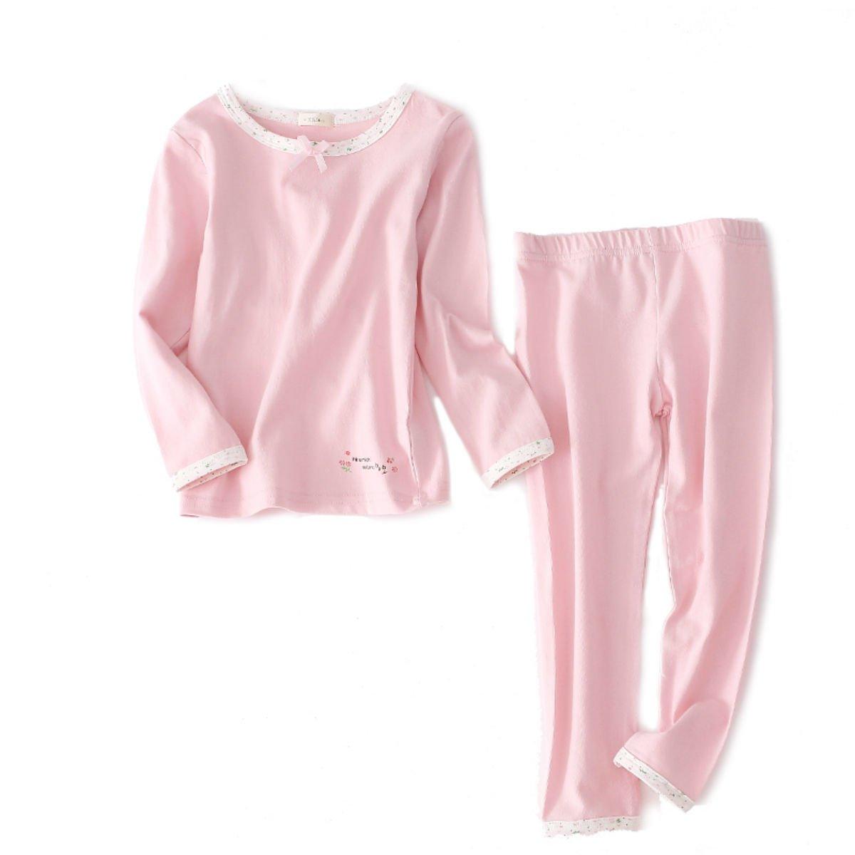 DGAGA Girls Cotton Pajama Set Solid Sleepwear Thermal Sets 2pcs Top and Legging Pink 7-8 Years/140cm