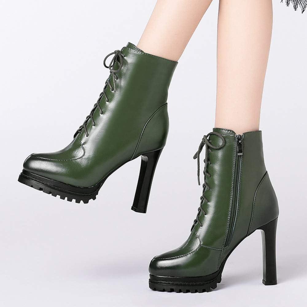 Pluche warme hoge hakken schoenen Dames Herfst Winter Comfortabele Ademend Leer Korte laarzen Casual Mode Retro Outdoor Prom Schoenen groen