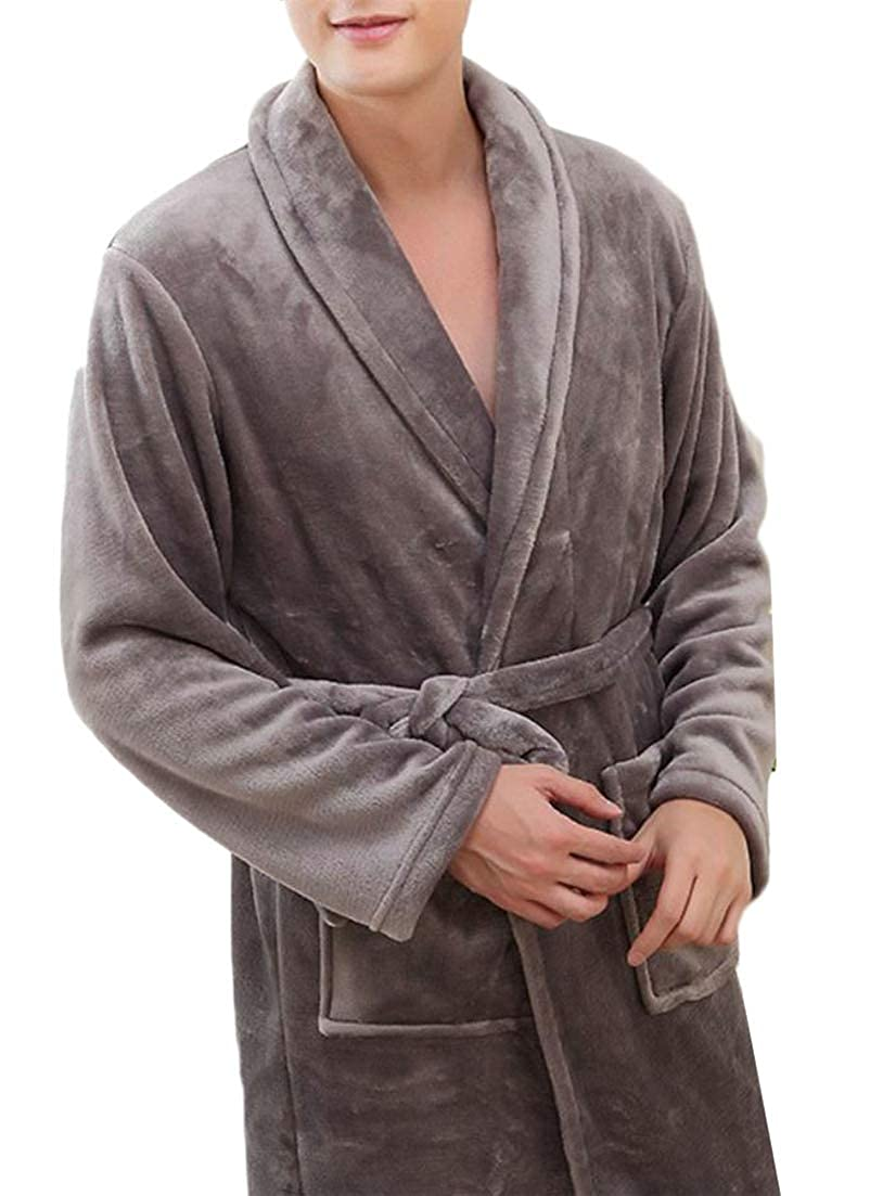 Lutratocro Men Autumn Winter Flannel Housecoat Classical Kimono Robe SPA Sleepwear Bathrobes