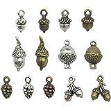 100g Pine Cone Acorn Charms Collection - Small Silver Bronze Copper Colors Metal Alloy Pendants (HM95)