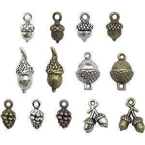 43edb248cc6 100g Pine Cone Acorn Charms Collection - Small Silver Bronze Copper Colors  Metal Alloy Pendants (
