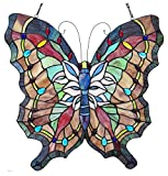 Chloe Lighting Papilio Tiffany-Glass Butterfly Window Panel 22x22