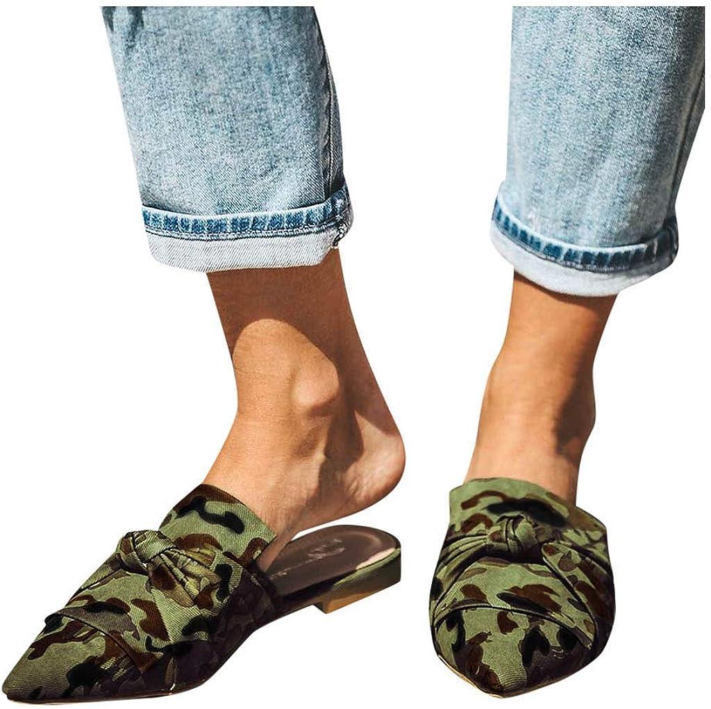 Pointu /Él/égant Chic Mules Pantoufles Plates Chaussure Sandale Femmes /Él/égant Bout Ferm/é Mules Talon