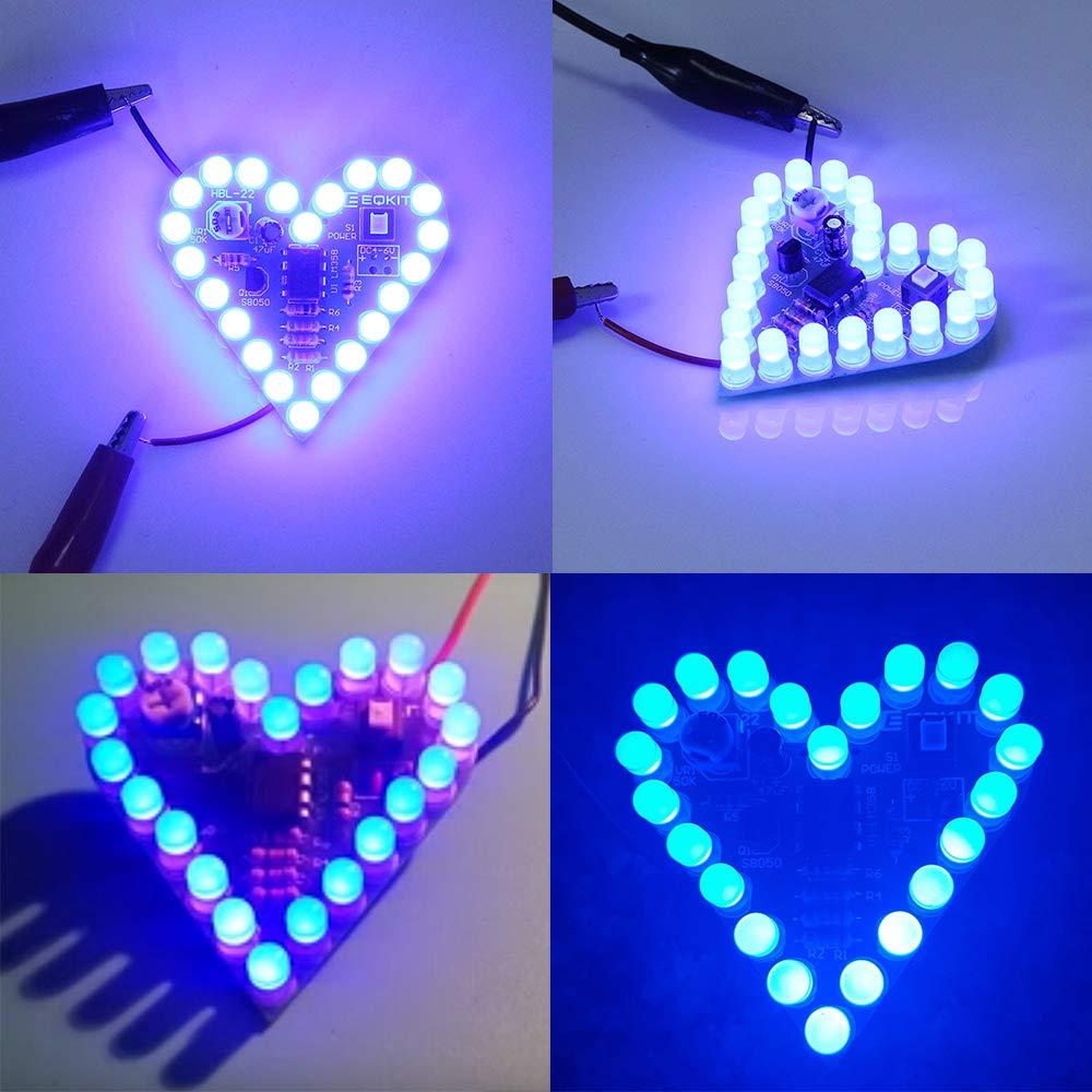 Icstation Heart Shape LED Flashing Lights Kit Electronics Soldering Practice Set Heart Shape LED Flashing Light Kit Blue