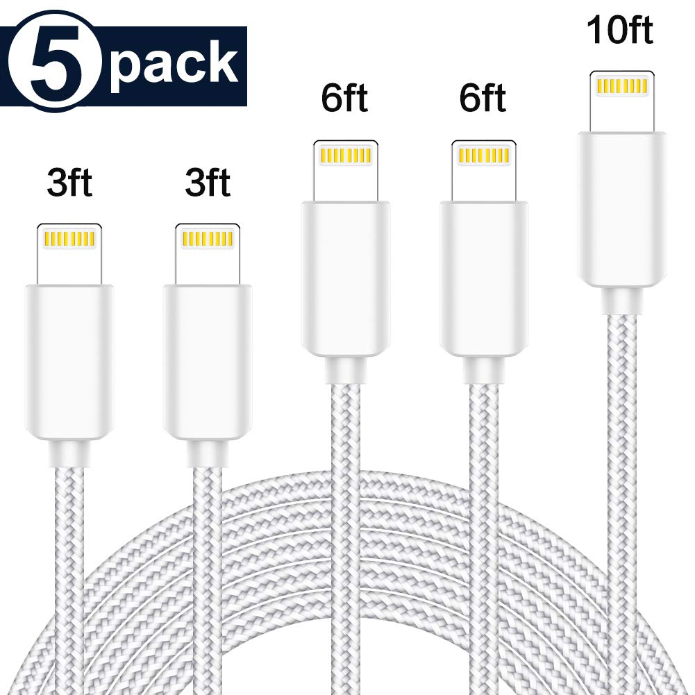 5 Pack Extra Long Nylon Braided USB Charging & Syncing Cord Compatible Xs/Max/XR/X/8/8Plus/7/7Plus/6S/6S Plus/SE/iPad/Nan More Blue and black1 by TNSOAAA4