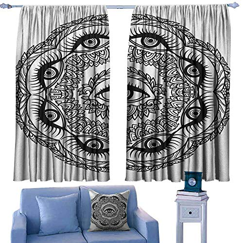 Ceiling Light Providence Leaf - Occult Decorative CurtainsForLivingRoom Print in Abstract Floral Crown of Leaves Sticks with Eye of Providence Boho Symbol Suitable for Bedroom Living Room Study, etc.63