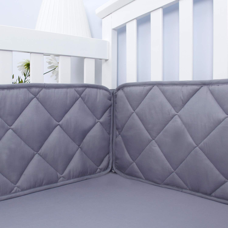 "Baby Bumper Pads for Crib Bedding,Nursery Gray Crib Bumper Pads Fit for Standard Size Crib(52""x28""),Washable & Soft Baby Crib Padding for Boys"