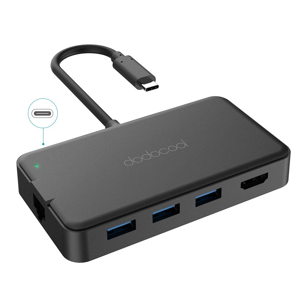 dodocool USB-C Hub 6-in-1 con Power Delivery di Tipo C Porta di Uscita Video HD 4K Adattatore Ethernet Gigabit e USB 3.0 SuperSpeed 3 Porte