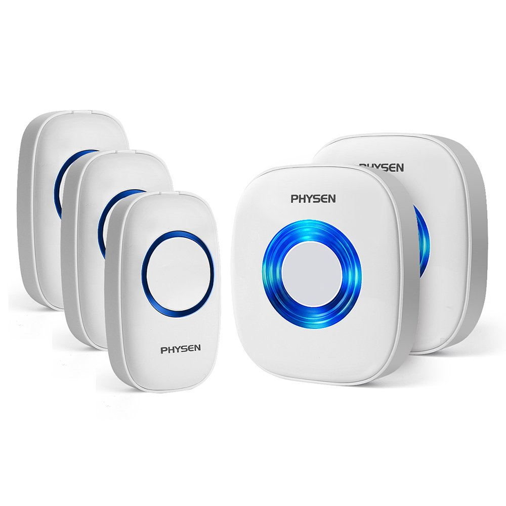 Physen Model CW Waterproof Wireless Doorbell kit with 3 Push Buttons and 2 Plugin Receivers Operating at 1000ft Range,4 Volume Levels and 52 Melodies Chimes,No Batteries Required for Receiver