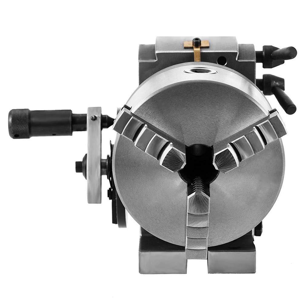 Vogvigo Cabezal divisorio BS-0 5 Pulgadas 3 Mand/íbula Mandril Cabezal divisorio Precisi/ón Semi Universal Cabezal divisorio para fresadora Mesa giratoria Contrapunto Juego de fresado