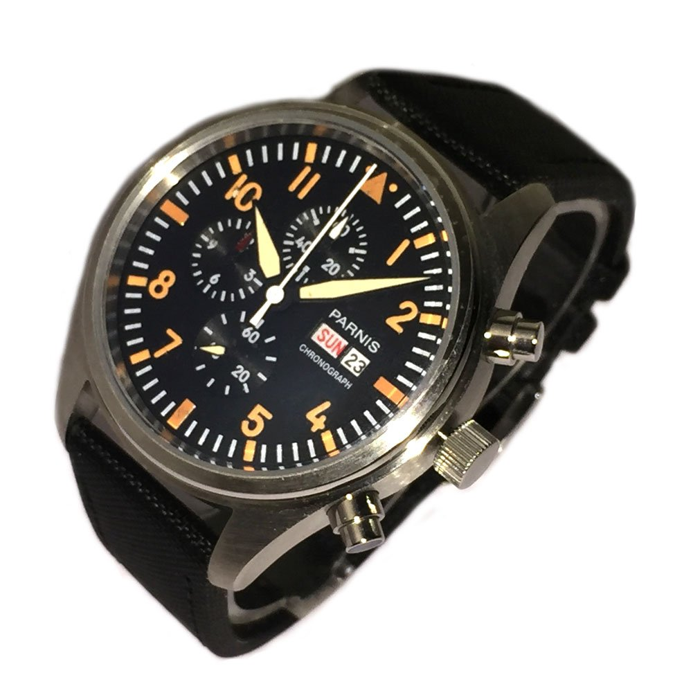 42mm Black Dial Fabric Leather Strap Chronograph Quartz Men's Wristwatch