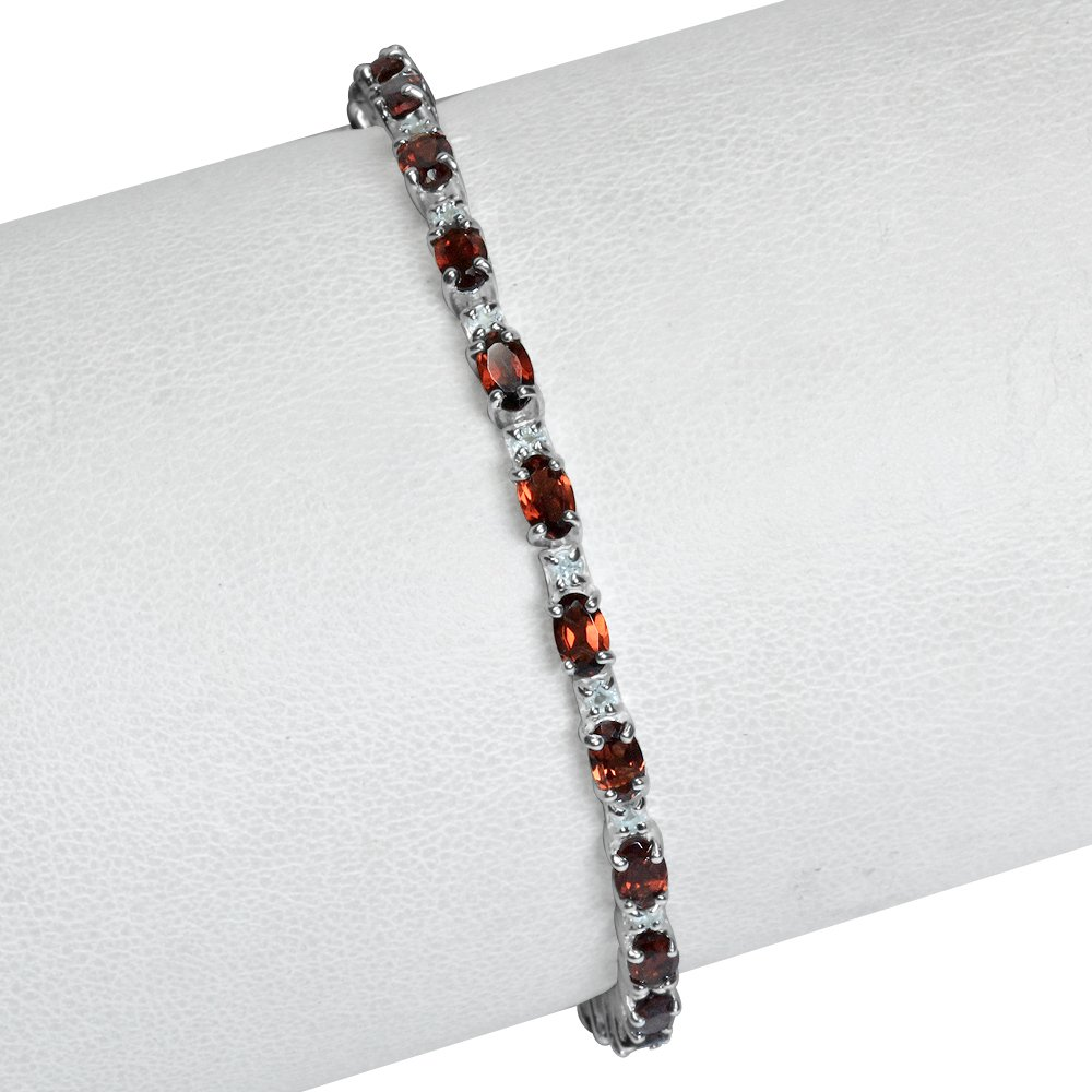 Natural Garnet White Topaz 925 Sterling Silver 6.5-8 Adjustable Bracelet