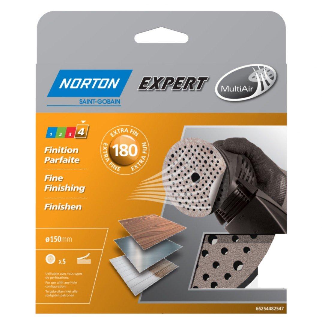 Norton Sanding Disks Set of 5 Self-Adhesive Diameter 150 Grain 120 Multi-Air