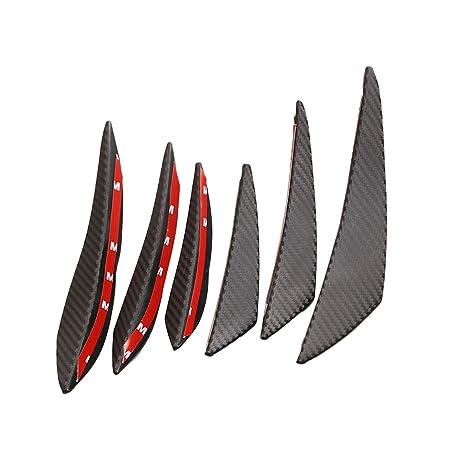 MagiDeal 6x Aletas de Fibra de Carbono Monatje Parachoques Labio Separador, Coche - Fibra de