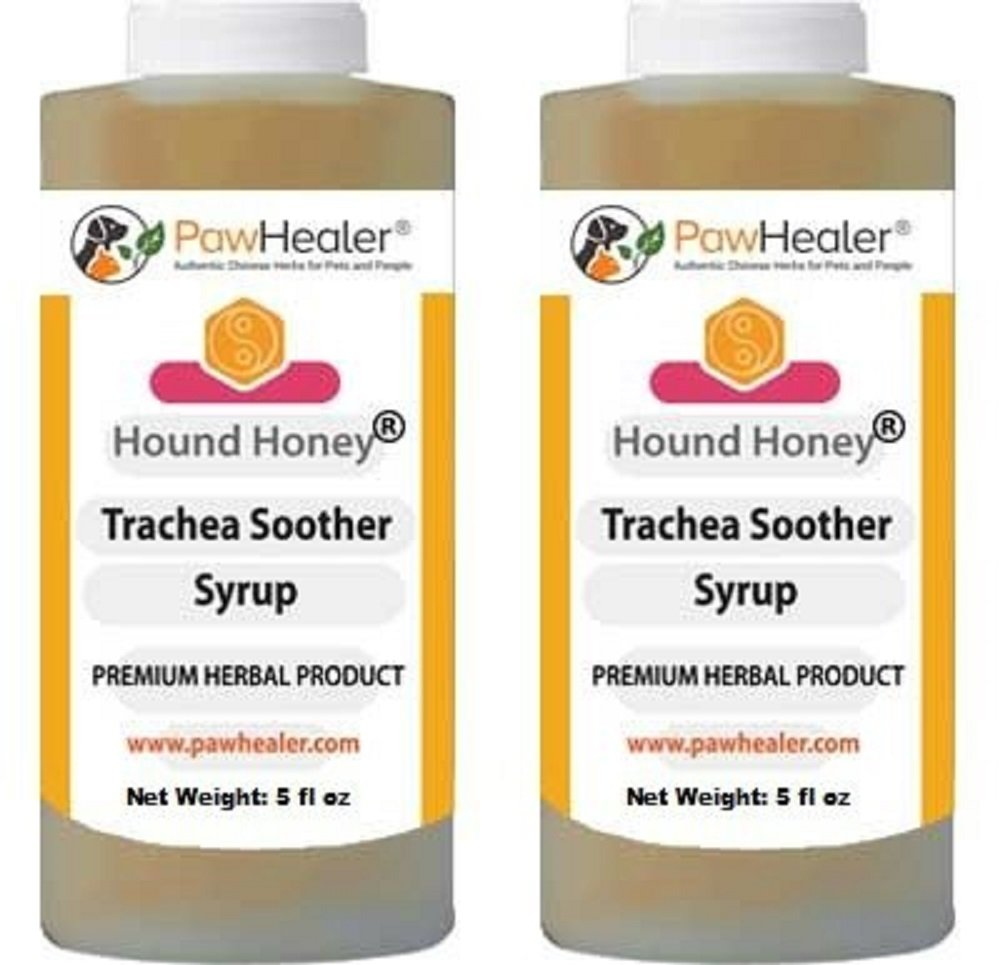PawHealer Trachea Soother Syrup 2PAK Hound Honey - Natural Herbal Remedy for Symptoms of Collapsed Trachea - Tastes Good - Easy to Administer (5 fl oz/ea) ... by PawHealer