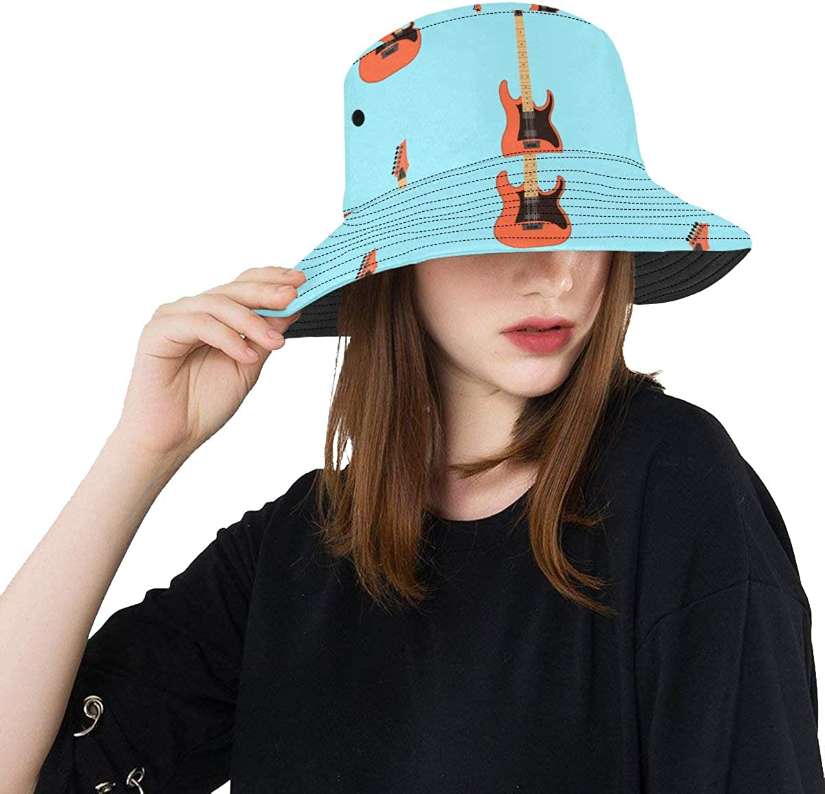 Guitar Music Instrument Summer Unisex Fishing Sun Top Bucket Hats for Kid Teens Women and Men with Packable Fisherman Cap for Outdoor Baseball Sport Picnic