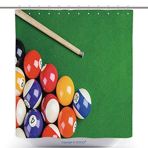 (vanfan-Cool Shower Curtains Billiard Balls On Green Table Billiard Cue Snooker Pool Game Polyester Bathroom Shower Curtain Set Hooks(60 x 72)