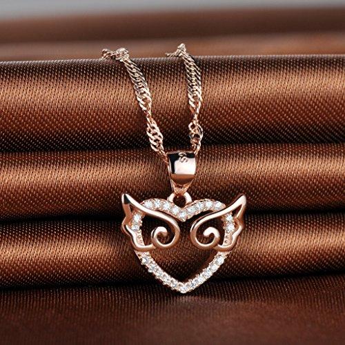 Infinite U pendentif collier-le cœur inséré pierres avec l'aile d'ange-925 argent et zircon-pour femmes/filles/jeunesses