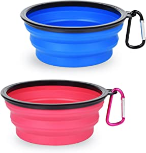 PetBonus 2-Pack Large Silicone Collapsible Dog Bowl (4 Cups,34oz), BPA Free and Dishwasher Safe, Portable Foldable Travel Bowl, Food and Water Bowls for Dogs and Cats - 2-Color Carabiners Per Set