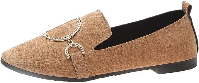 VECDY Zapatos Mujeres Retro Cabeza Plana Zapatos Casuales Plana ...