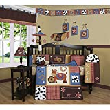 TL 13 Piece Baby Girls Blue Red White Western Cowboy Crib Bedding Set, Newborn Horse Nursery Bed Set, Infant Child Animal Themed Patchwork Horseshoe Stars Checkered Quilt Blanket, Cotton