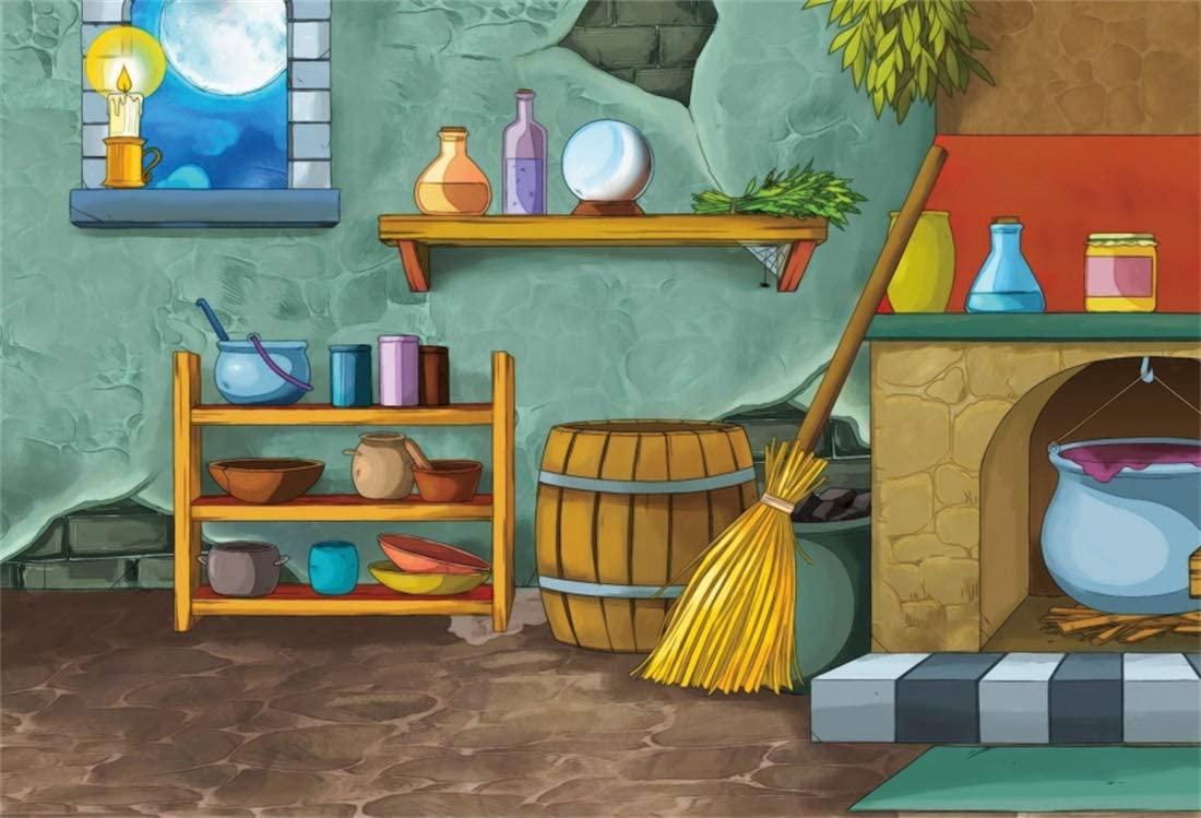 6x4ft Vinyl Cartoon Animation Theme Background Small Country Room Photography Background Wooden Barrel Cooker Backdrop Party Kid Baby Portrait Photo Studio Props