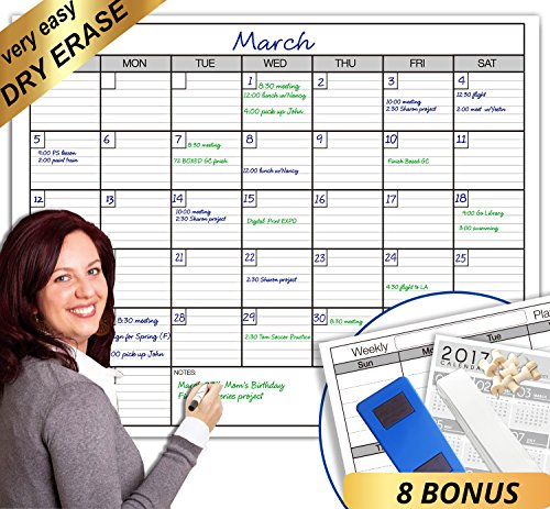 Erasable Planner (Dry Erase Monthly Laminated jumbo Wall Calendar, 38-Inch by 50-Inch)