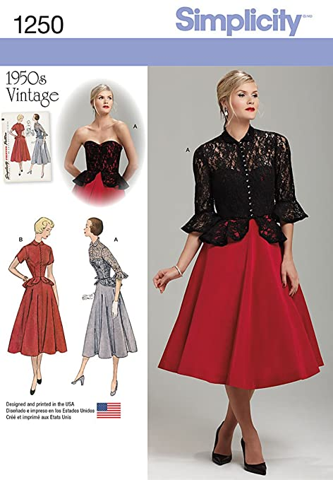 1950s Sewing Patterns | Swing and Wiggle Dresses, Skirts Simplicity 1950s Vintage Pattern 1250 Misses One Piece Dress and Jacket Sizes 6-8-10-12-14 $8.88 AT vintagedancer.com