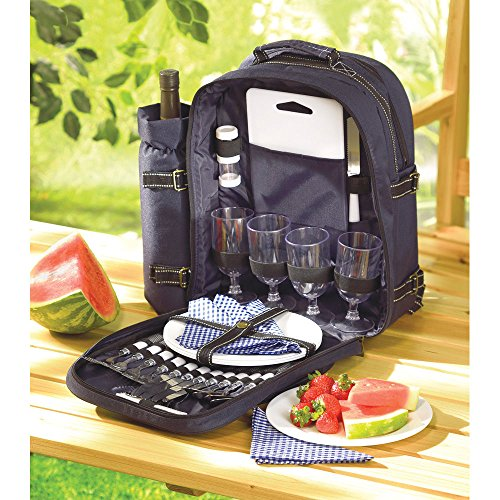 Deluxe 30pc Picnic Set Service For 4 Insulated Backpack Gourmet Basket Hiking -by# great_bargains1, #UGEIO49400835748323