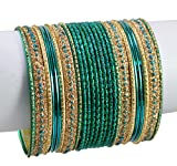 1 Set of 24pcs Traditional Casual Party Wear Bridal Metal Bangles / Chudi Jewelry For Ladies (Dark Green)