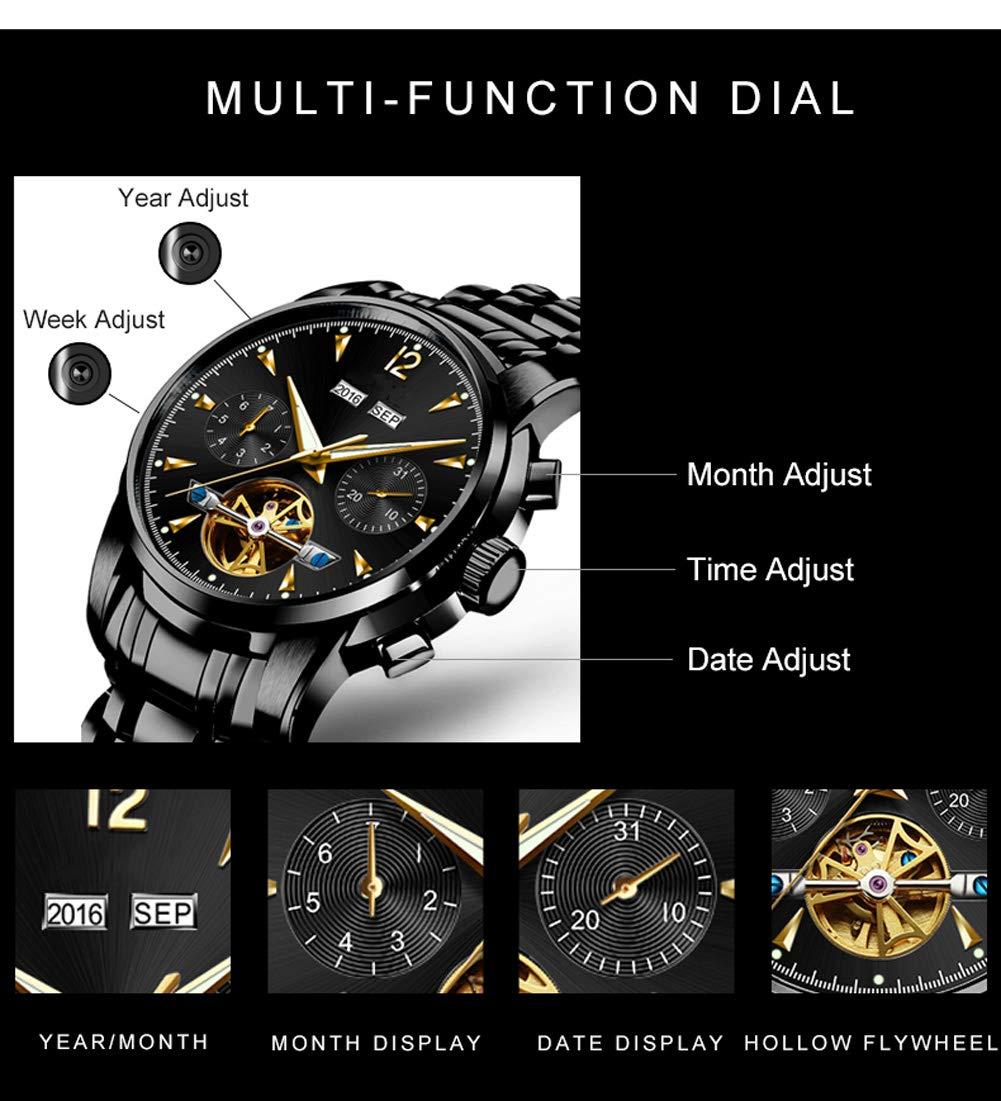 N·XHXL herrarmbandsur multifunktion automatiska mekaniska klockor Tourbillon självlysande datum sport affärer armbandsur kronograf klocka glasurtavla Vitt