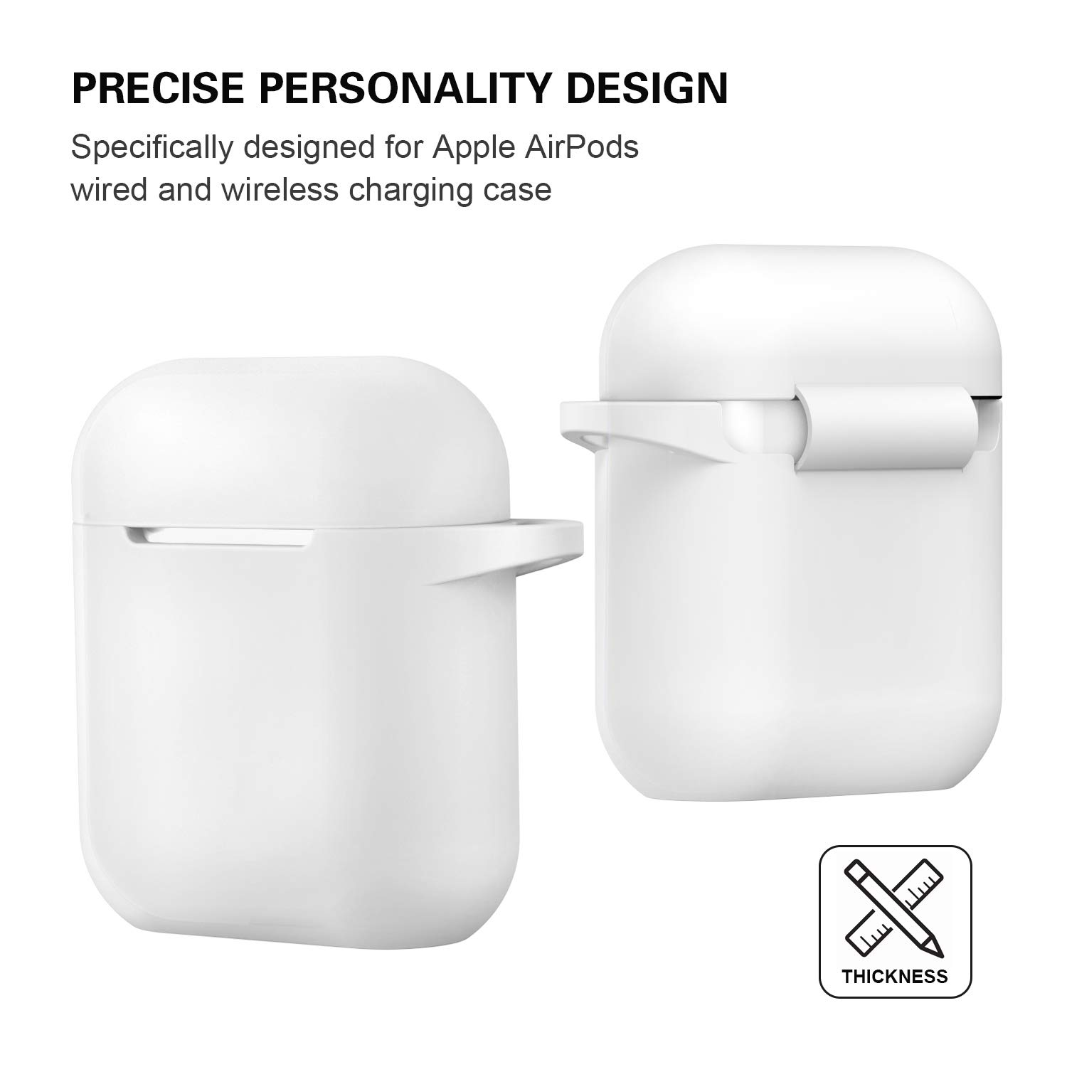 ATUAT Silicone Cover with U Shape Carabiner,360/°Protective,Dust-Proof,Super Skin Silicone Compatible with Apple AirPods 1st//2nd AirPods Case White