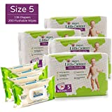 Happy Little Camper Ultra Absorbent Hypoallergenic Natural Diapers, Size 5 (+27 lbs), 136 Count, Safe Flushable Wipes, 200 Count, Monthly Supply Combo Bulk Pack