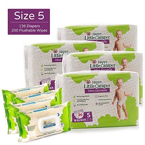 Price comparison product image Happy Little Camper Ultra Absorbent Hypoallergenic Natural Diapers,  Size 5 (+27 lbs),  136 Count,  Safe Flushable Wipes,  200 Count,  Monthly Supply Combo Bulk Pack