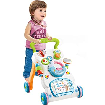 Adjustable Wooden Baby Hand Trolley with Multi-function Activity Toys Center