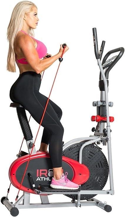 Cuerpo Xtreme Fitness Bicicleta estática elíptica Entrenamiento 4-en-1 bxf001 a, Gimnasio en casa Equipo, diseño Compacto, Mano Pesos, Bandas de Resistencia + Bonus refrigeración Toalla: Amazon.es: Deportes y aire libre