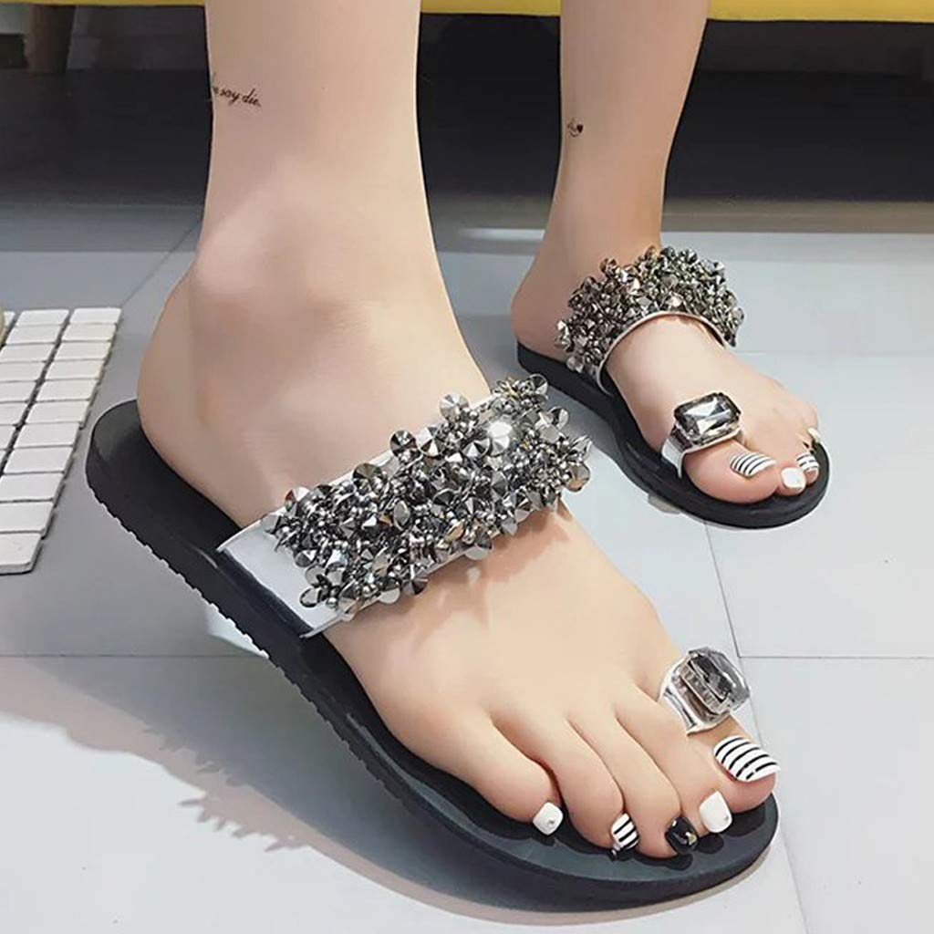 Fiaya Women Sandal Rhinestone Open Toe Shoes Bohemia Casual Non-Slip Flat Slippers Flip Flops Shoes