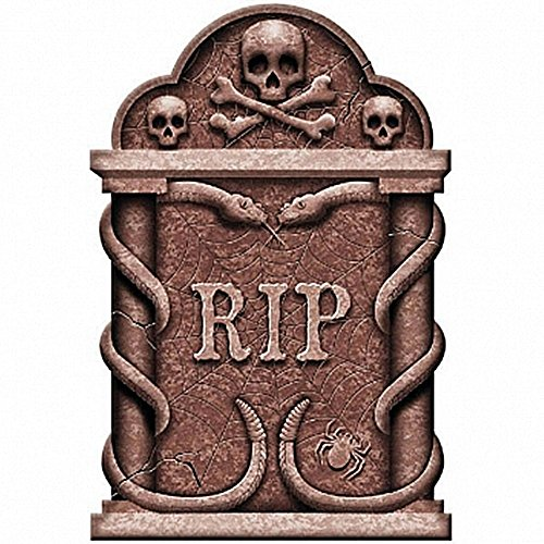 Creepy Cemetery Halloween Party Spooky Snakes and Skull Tombstone Decoration, Foam, 22