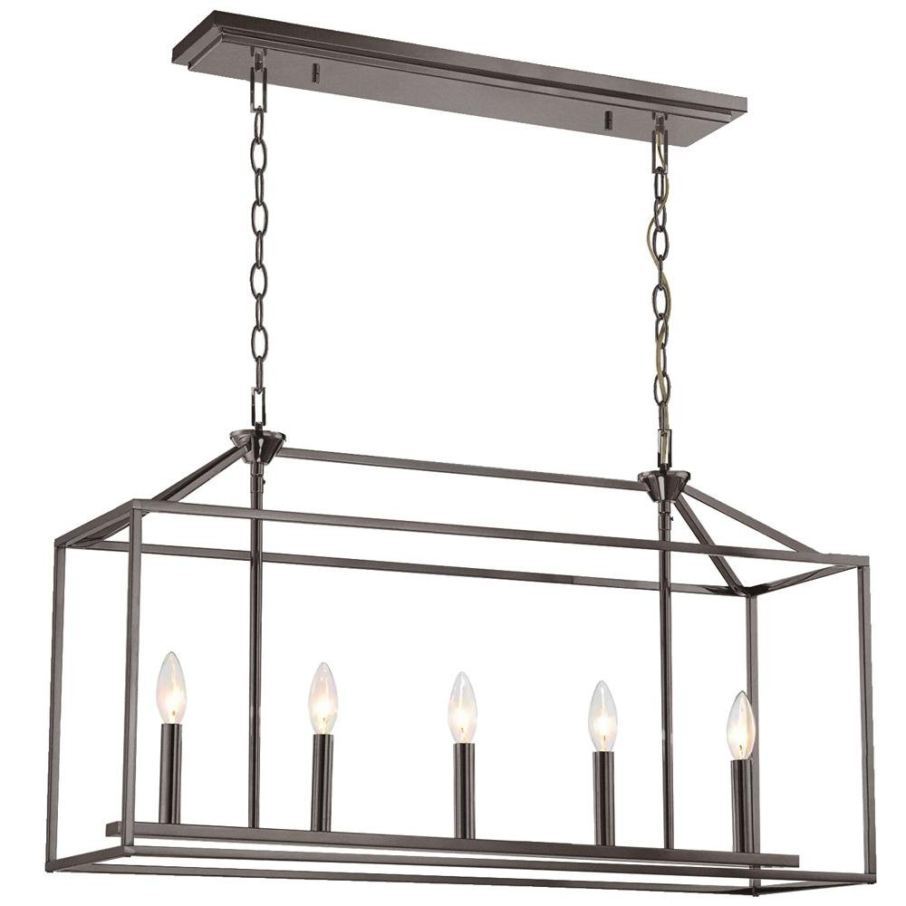 Langdon Mills Drummond 5-Light 32'' Burnished Oil Rubbed Bronze Linear Island Chandelier Light by LANGDON MILLS