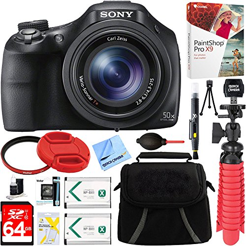Sony DSC-HX400V/B 50x Optical Zoom Digital Camera + 64GB Memory Card, Battery & Accessory Bundle by Beach Camera