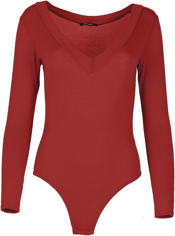 Be Jealous Women Top Leotard Ladies Long Sleeve V Neck Deep Plunge Jersey Basic Bodysuit