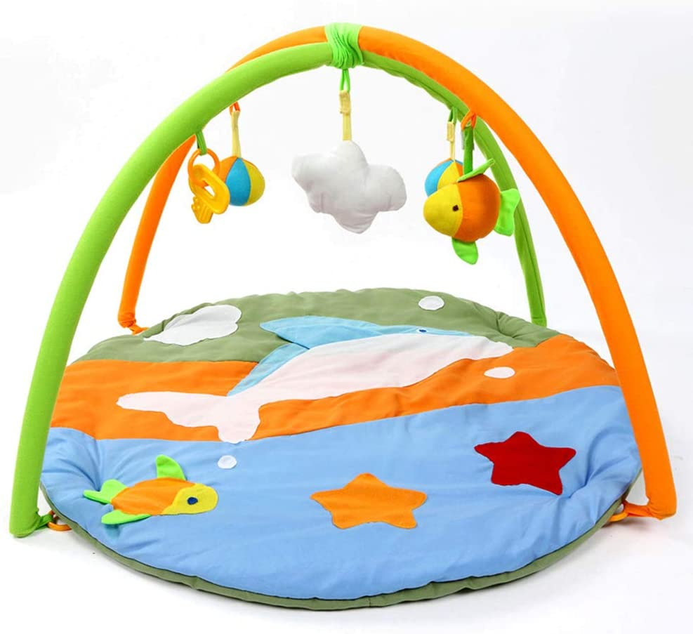 95x50 cm Portable Folding Exercise Gym Activity Play Mat With Hanging Toys For Kids Toddler Infant keebgyy Baby Game Carpet Fitness Rack